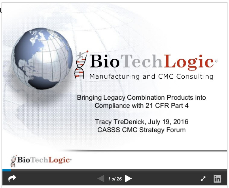 Bringing Legacy Combination Products into Compliance with 21 CFR Part 4
