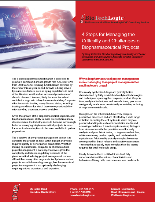 White Paper: 4 Steps for Managing the Criticality and Challenges of Biopharmaceutical Projects